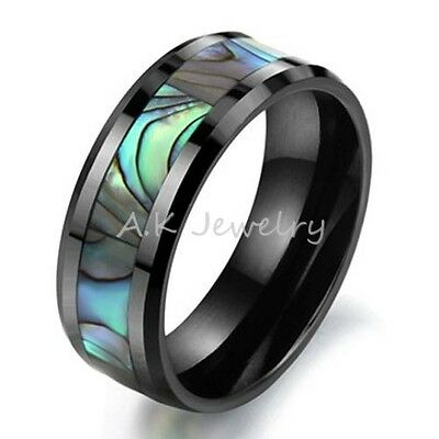8mm Black Ceramic Mens Womens Green Abalone Inlay Wedding Band Ring Jewelry Gift
