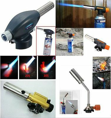 Butane Gas Torch Flamethrower Burner Auto Ignition Camping Welding BBQ Tool