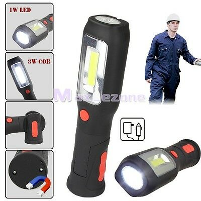 COB +LED Rechargeable Magnetic Torch Flexible Inspection Lamp Cordless Worklight
