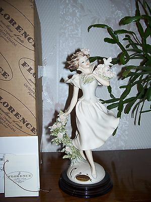 """G. ARMANI Figure Figurine Statue Sculpture """"Spring Time"""" Young Lady Flowers Dove"""