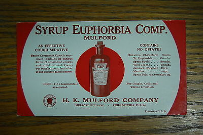 Syrup Euphorbia Comp. 'An Effective Cough Sedative' 1930s Ink Blotter - Blot on