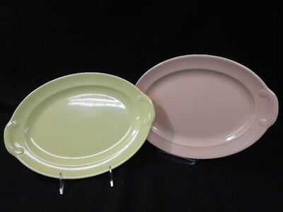 """2 Lu Ray TAYLOR.SMITH. & T., PASTEL OVAL PLATTERS LUG HANDLES 12"""" PINK/YELLOW"""