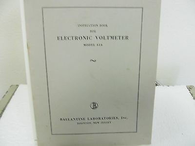 Ballantine 314 Electronic Voltmeter Instruction Manual w/schematic
