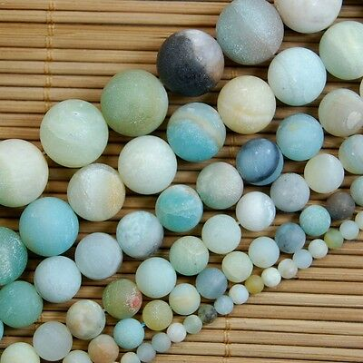 Natural Frosted Amazonite Gemstone Round Beads 16'' 4mm 6mm 8mm 10mm 12mm 14mm