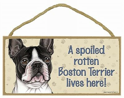 BOSTON TERRIER A Spoiled Rotten BOSTON TERRIER Lives Here Wood SIGN/PLAQUE 5X10
