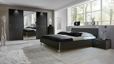 komplett schlafzimmer anthrazit futonbett nachttisch kleiderschrank doppelbett eur. Black Bedroom Furniture Sets. Home Design Ideas