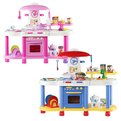 deAO Kitchen Play Set Cooking Light & Sounds Comes With 35 Accessories