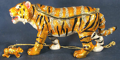 Tiger walking Jeweled Pewter Trinket Box w/ Necklace Wildlife