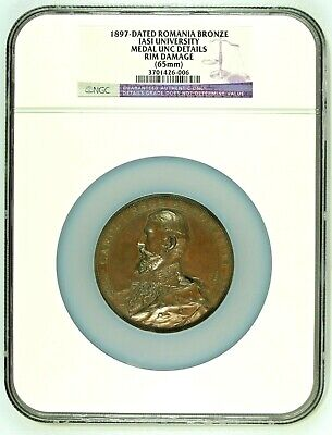 Romania 1897 Bronze Medal Carol I Inauguration of Iasi University Graded by NGC