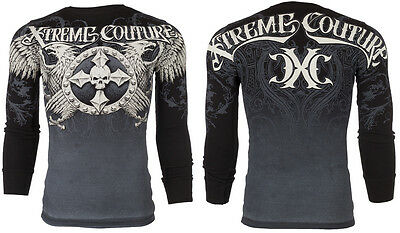 Xtreme Couture AFFLICTION Mens THERMAL T-Shirt INDUSTRIALIZED Biker M-3XL $58
