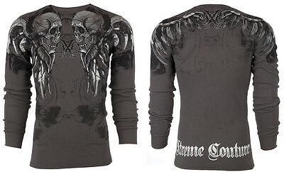 Xtreme Couture AFFLICTION Men THERMAL T-Shirt RAMBO Skulls Biker UFC M-3XL $58