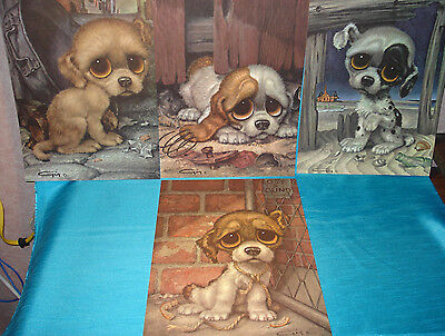 Vintage Big Eyed 1960s Gig (Keane Style) PITTY PUPPY (Lot of 4) Paper Prints