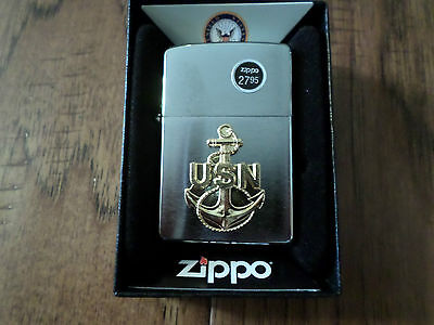 U.s Military Navy Gold Anchor Zippo Official Licensed Lighter U.s Made Zippo's