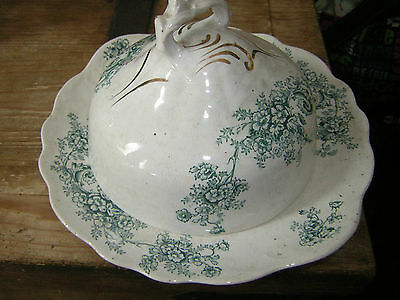 Buffalo Pottery Covered Butter Dish Seneca Pattern Green White Floral 1930's GUC