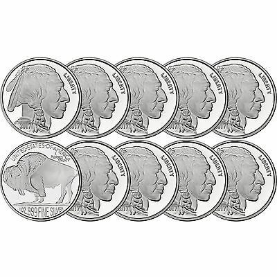 2017 American Buffalo 1oz .999 Fine Silver Round by SilverTowne LOT OF 10