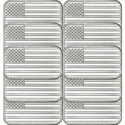 SPECIAL PRICE-American Flag 1oz .999 Fine Silver Bar by SilverTowne LOT of 10