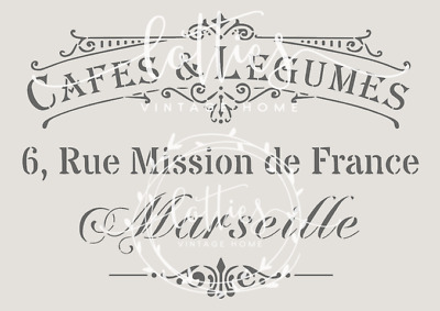 A4 STENCIL French CAFES & LEGUMES Furniture Vintage  Shabby Chic 190 MYLAR ❤