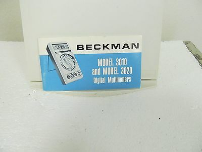 Beckman 3010, 3020 Digital Multimeters Operator's Manual w/schematic (mini book)
