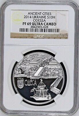 Ukraine 10 hryvnia 2014 220 years of The City Of Odessa 1oz Silver NGC PF69 Ship