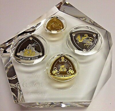 Zambia 1999 Beautiful Set 21th Century 4 Gold/Silver Coins with Diamonds Box+COA