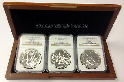 Great Britain 2010 2011 2012 Set 3 Silver Coin Two Pound £2 Britannia NGC Box