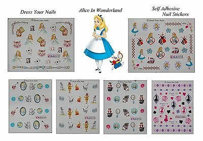 Alice In Wonderland Water Decal Nail Stickers Transfers - Disney Styled Cartoon