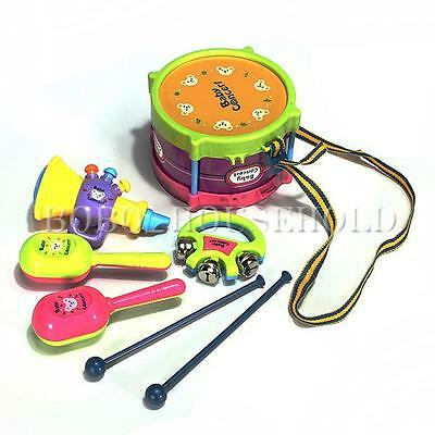 New Set 5pcs Roll Drum Musical Instruments Band Kit Kids Children Toy Gift