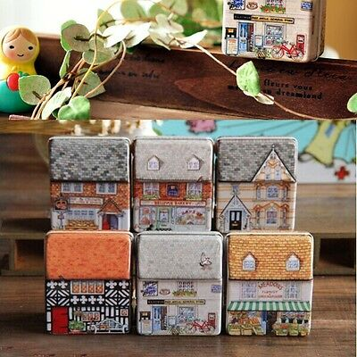 Full Painted Small House Tin Storage Case Iron Xmas Gift Box Boxes Jewelry Decor