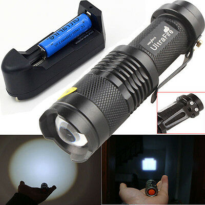 Zoom UltraFire 1000Lumen CREE XM-L T6 LED Flashlight Lamp+14500 Battery+Charger