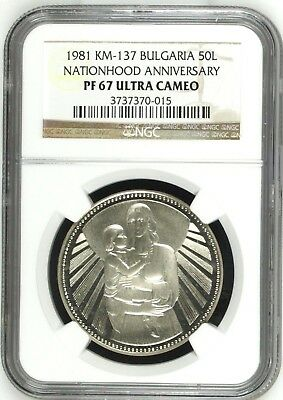Bulgaria 1981 Silver Coin 50Lev Nationhood Anniversary Mother Child NGC Rare