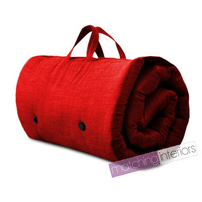 Red Travel Guest Sleepover Single Mattress Roll Up Futon Z Bed Gap Year Student