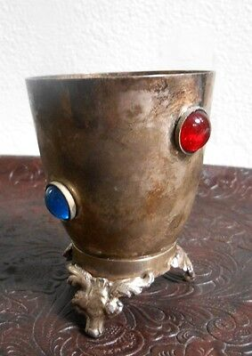 Vintage Jeweled Silver Plated Footed Kiddush Cup, Made In India