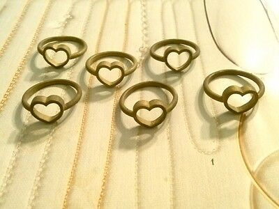 6 PC LOT Vintage Solid Brass Heart Charm Ring Blanks 1950's