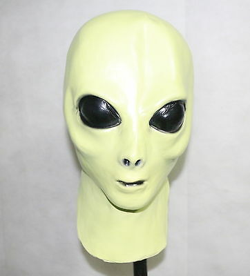 Alien Mask UFO Extra Terrestrial Fancy Dress Roswell Glows in the Dark Halloween