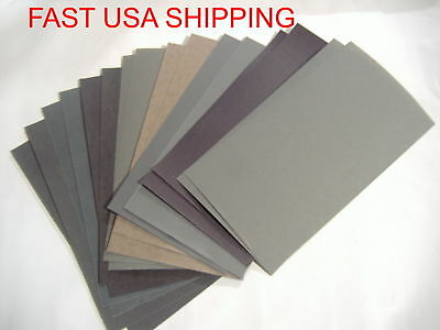 "16PC 3"" x 5 1/2""  WET DRY SANDPAPER 2500 2000 1500 1200 1000 800 600 400 GRIT"