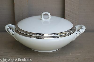 Vintage Fukagawa Silver Lichen Round Covered Vegetable Bowl Pattern 917 ~ Japan