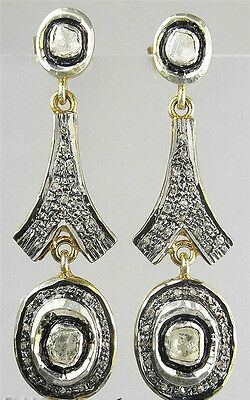 Victorian 2.81ct Antique Rose Cut Diamond Earrings, Free Shipping worldwide
