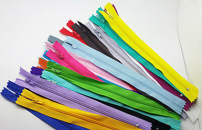 10pcs mix Nylon Coil Zippers Tailor Sewer Craft 9 Inch Crafter's &FGDQRS @