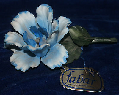 Blue Rose Capodimonte Porcelain Mantle Ornament. Boxed c.1980