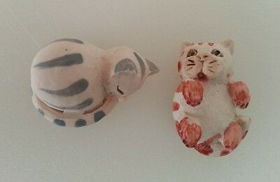(2) 1983 Miniature PS Logan Made and Hand Painted in Scotland Cats