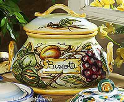 Intrada Ceramic Biscotti Jar w/ Fruit & 2 Handles Cookie Canister Made in Italy