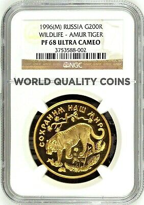 Russia 1996 Proof 1oz Gold Coin NGC PF68 Amur Tiger Wildlife 200 Roubles Rare