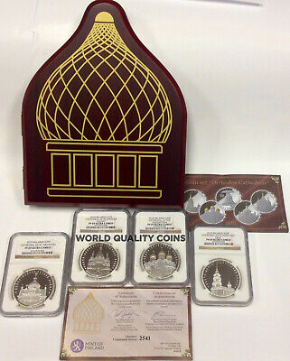 Belarus 2010 Set Silver 4 Coins 20 Roubles Orthodox Cathedrals NGC PF69 Rare Box
