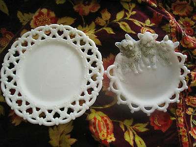 2 WESTMORELAND VINTAGE PLATES OPEN LACEWORK/ CATS