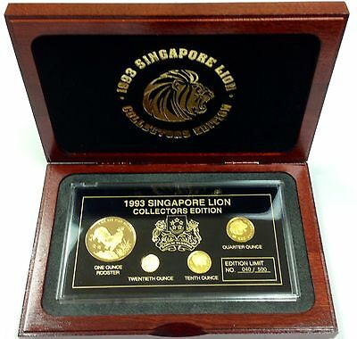 Singapore 1993 Set 3 Gold Coins 1 Gold Plated Silver Lion in gift Box COA Rare