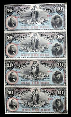 1887 Uruguay 10 Pesos Uncut Sheet Of 4 Notes Banco Italiano Cu S212