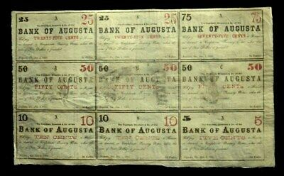 "1860's BANK OF AUGUSTA UNCUT SHEET PRINTED ON FRACTIONAL'S ""PLESE READ*"""