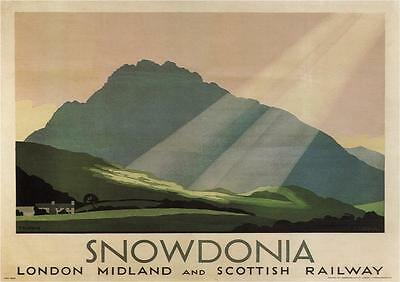 Vintage Rail travel railway poster  A4 RE PRINT Snowdonia