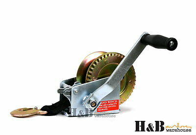 1400 LBS Hand Winch Heavy Duty 8M Strap  Boat Trailar 4WD Marine Towing C0153