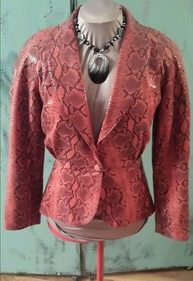 Dero by Rocco D'Amelio, Red snakeskin embossed vintage leather jacket.  Xs.